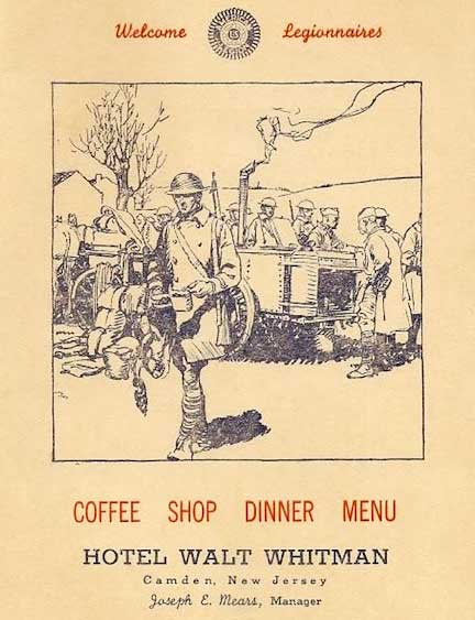A menu from Hotel Walt Whitman, which became a regular meeting spot for the veterans organization American Legion in the late 1920s and early '30s. (Courtesy of Ed Centeno)