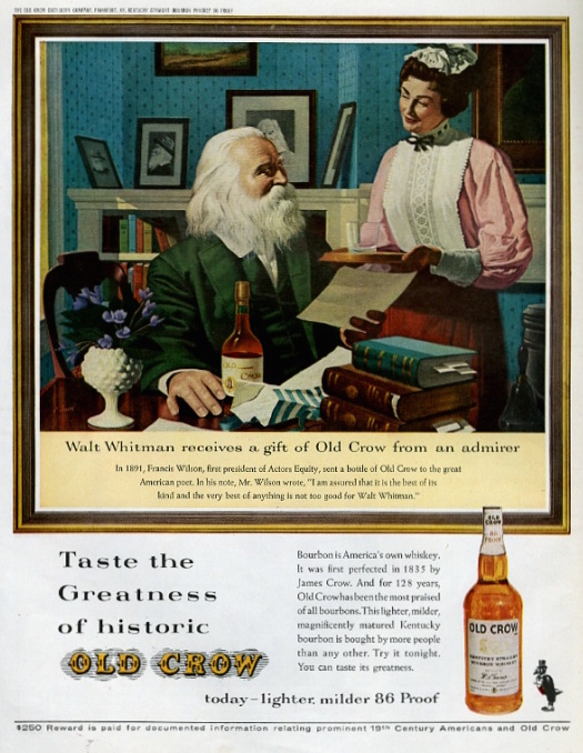 In this 1963 magazine ad for Old Crow bourbon, Walt Whitman is portrayed as an elegant elderly writer who's wealthy enough to have a maid. (Courtesy of Ed Centeno)