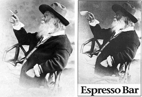 In 1883, Whitman promoted his woodsy image with a photo, left, featuring a fake butterfly. In the 1990s, Borders Bookstores tweaked the image, right, to promote their cafes.