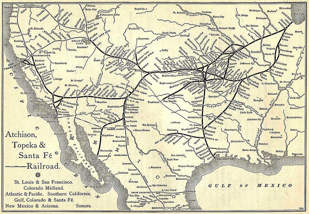 A complete map of the Atchison, Topeka and Santa Fe Railroad in 1891. Via Wikimedia. (Click to enlarge)