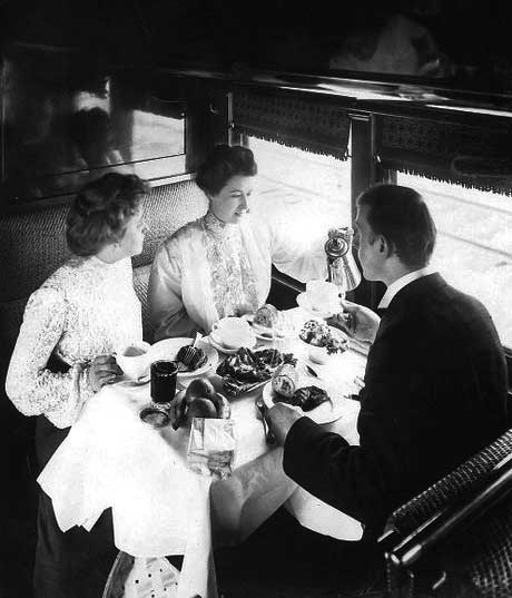 Diners in a Pullman car managed by Fred Harvey on the Santa Fe line between Chicago and Kansas City, circa 1888.