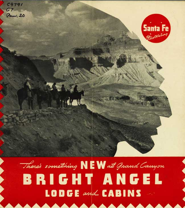 The cover of a 1938 brochure advertising Mary Colter's Bright Angel Lodge at the Grand Canyon. Via the University of Arizona.