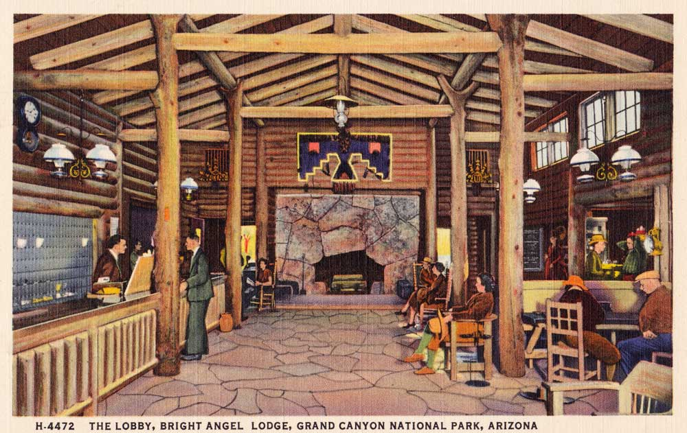A postcard view of the lobby in Colter's Bright Angel Lodge, circa 1930s.