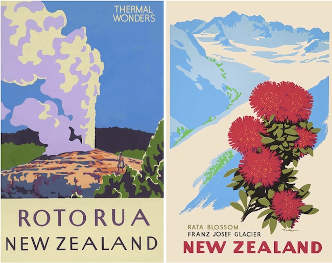 "Top: ""Maori Chief,"" 1948, by Marcus King. Above: The unsigned poster on the left, advertising New Zealand's ""Thermal Wonders"" at Rotorua, is from 1950, in a style clearly influenced by Marcus King. The King poster at right is from 1955."