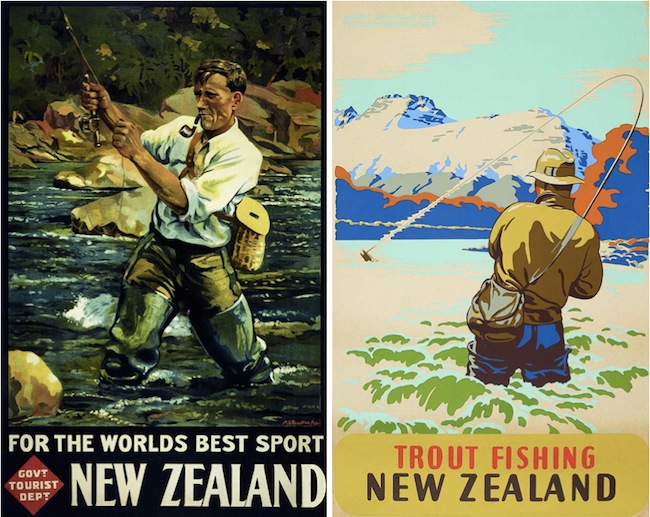 Marcus King reduced the elements in his posters to their essentials, as seen in this comparison between a 1936 fishing scene by Tourist Department artist Maurice Poulton (left) and a similar scene executed by King (right) in 1950.