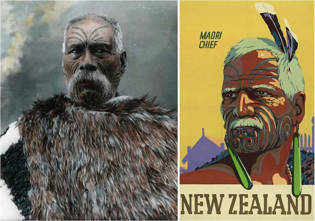 "King's ""Maori Chief"" poster from 1948 (right) is probably based on a circa-1900 hand-colored photograph of Topia Peehi Turoa, Chief of Ngati Patu-tokotoko."