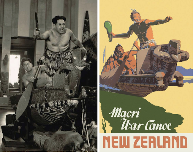 "King's ""Maori War Canoe"" poster from 1948 is probably based on the staged photograph at left."