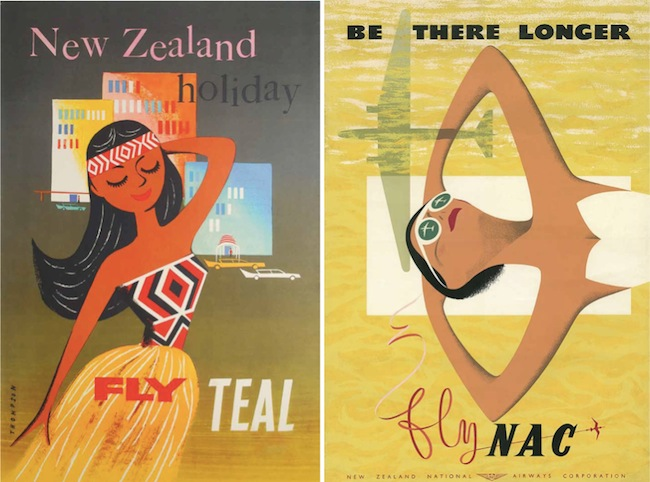 By the late 1950s and early 1960s, commercial artists treated Māori women as cartoony sex symbols (left), while the reasons given to visit New Zealand in the first place were often generic (right).