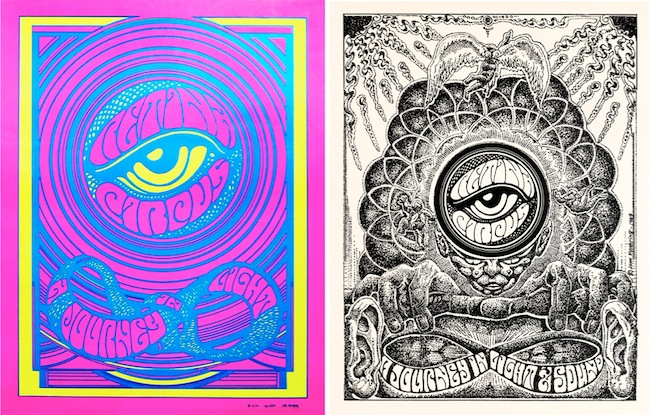 This Moehring collaboration with one of his rock-poster heroes, Wes Wilson, was first printed in 1968 to promote the Retina Circus light show. Moehring reworked it the following year as a drawing.