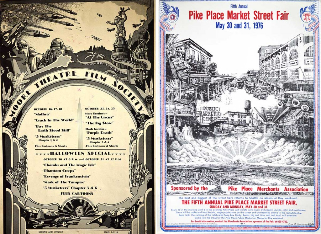 "At left, a poster Moehring created for the Moore Theatre Film Society, signed ""C. Alucard."" At right, his bicentennial poster for the Pike Place Market."