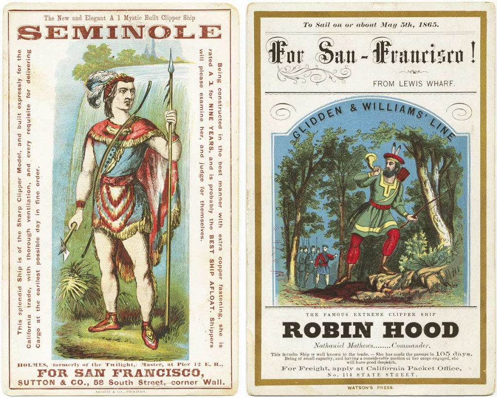 Left, a Nesbitt card from 1865 advertising the Seminole. Right, a Watson design for the Robin Hood, also from 1865. Courtesy Bruce Roberts.