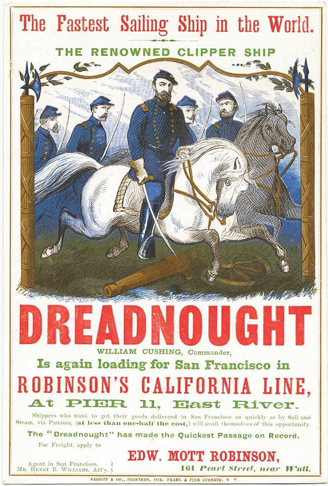 A card for the Dreadnought, named after a series of famous warships, printed by George Nesbitt & Co. in 1865. Courtesy Bruce Roberts.