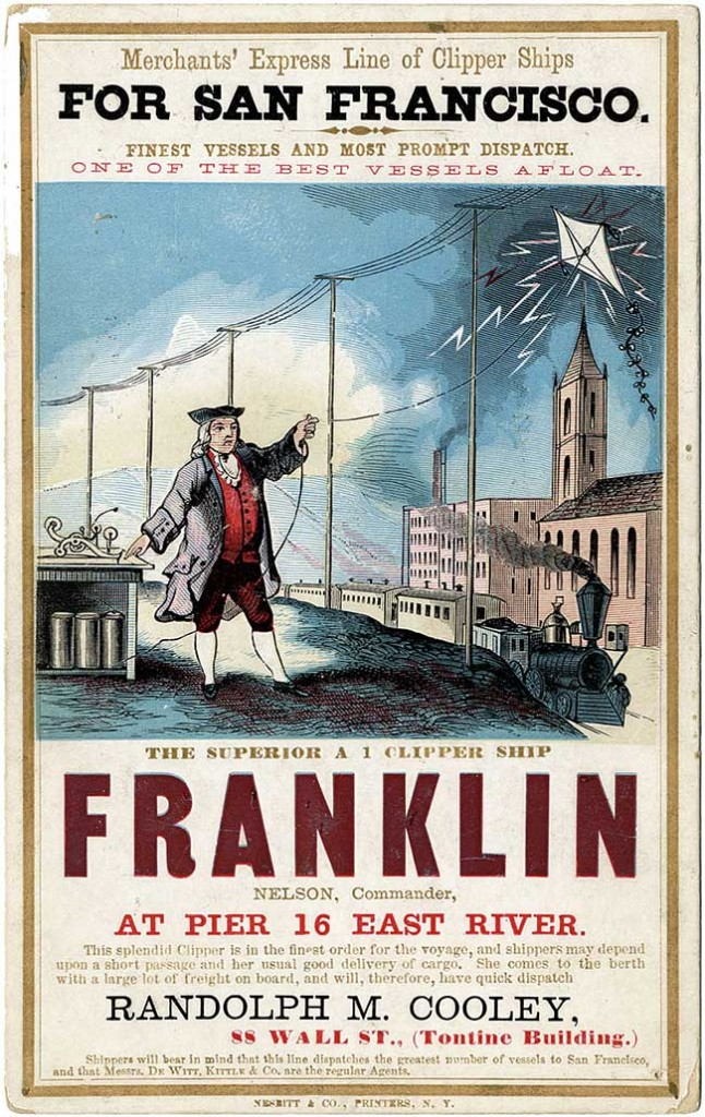 This card for the Franklin linked the ship with  various technological achievements, including the iconic Benjamin Franklin and his kite, circa 1860s. Courtesy American Antiquarian Society.