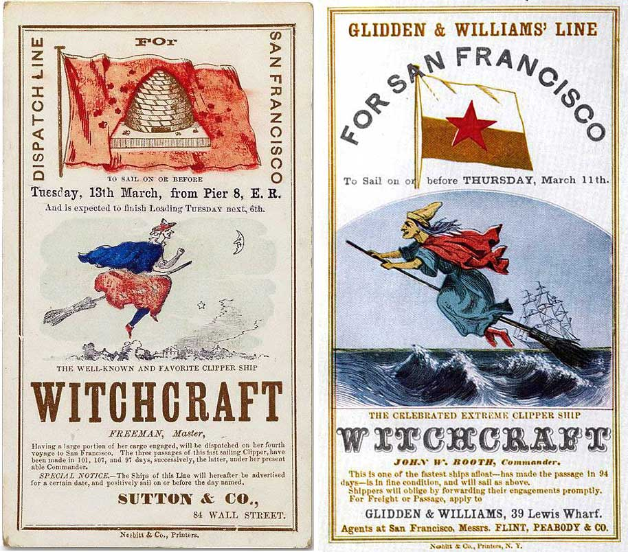 Top: A flying fish conveys the skillful skippering of the Ocean Express, circa 1862. Above: Two cards for the Witchcraft rely on similar imagery, at left, 1855, and right, late 1858. Courtesy Wikimedia and the MIT Libraries.