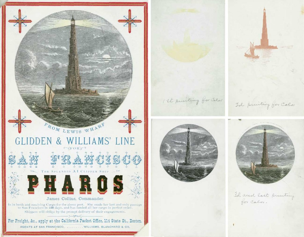 "Left, a card advertising the Pharos printed by Watson's Press in Boston around 1869, with its chromolithography layers seen at right. Courtesy <a href=""http://catalog.mwa.org/vwebv/holdingsInfo?&bibId=376042&searchId=277&recPointer=0&recCount=10"" target=""_blank"">American Antiquarian Society</a>. (Click to enlarge)"