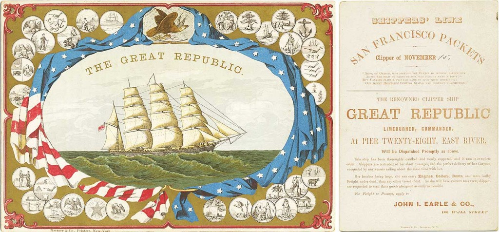 This 1859 Great Republic card is a rare double-sided design with patriotic imagery, including the seals of 33 states, on the front (left) and textual information on the back (right). Courtesy Bruce Roberts.