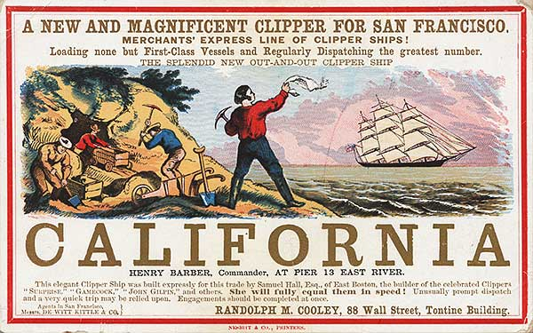 Sometime, the obvious angle is the best, like this card for the California, circa 1860. Via Wikimedia.