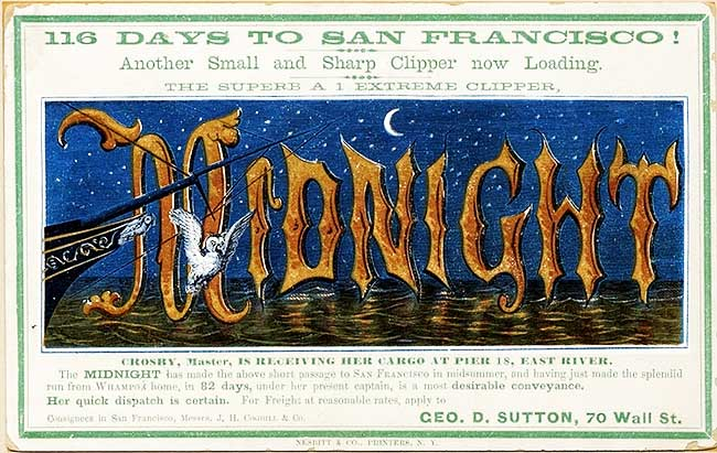 A clipper card for the Midnight, printed in 1865.
