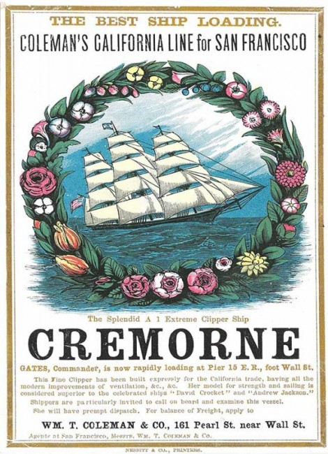A card for the Cremorne, circa 1860. Courtesy the Peabody Essex Museum.