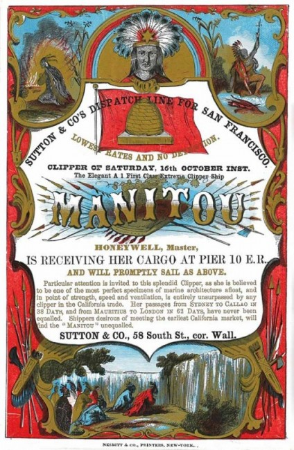 A Manitou clipper card, circa 1860. Courtesy the Peabody Essex Museum.