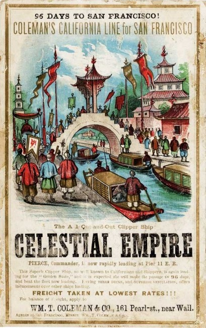 A Celestial Empire clipper card, circa 1860. Via Wikimedia.