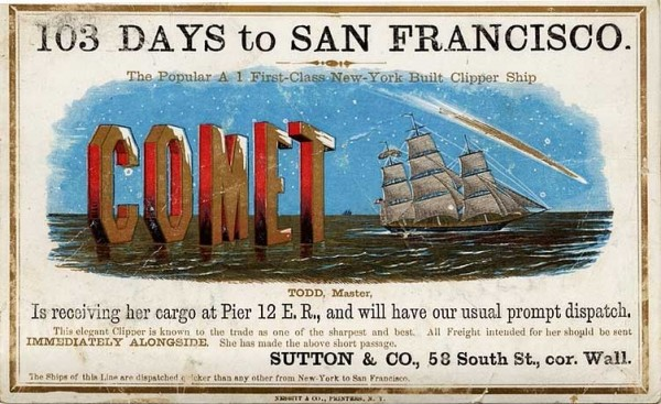 A Comet clipper card, circa 1855. Via Wikimedia.