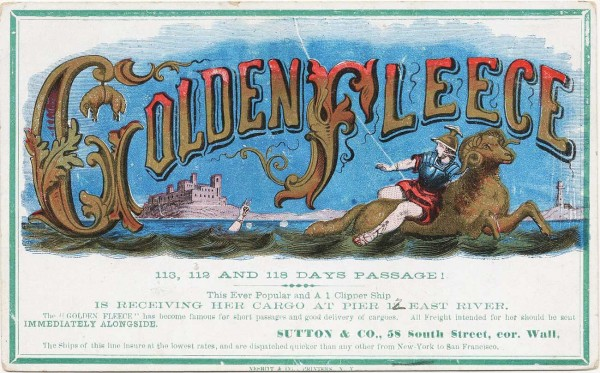 A Golden Fleece clipper card, circa early 1860s. Via Wikimedia.