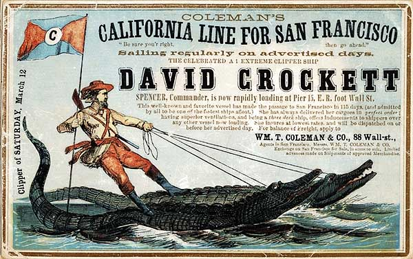 A clipper card for the David Crockett, circa 1860. Via Wikimedia.