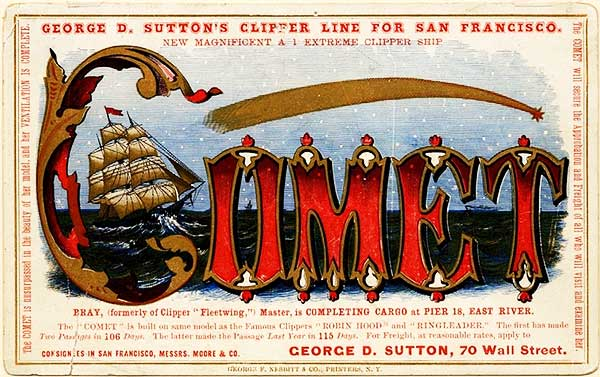 Another clipper card for the Comet, circa 1850s. Via Wikimedia.