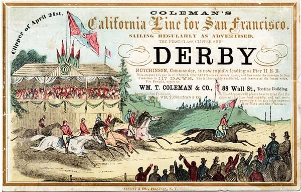 An elaborate clipper card for the Derby, circa 1858. Via Wikimedia.