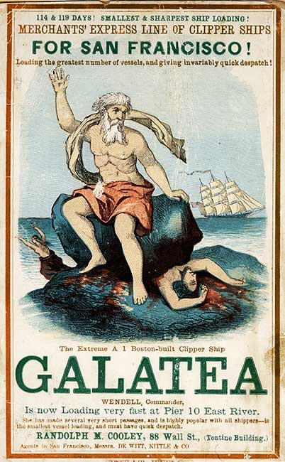 A card from the 1850s for the Galatea, named after a Greek goddess whose lover, Acis, was crushed by Polyphemus. Via Wikimedia.