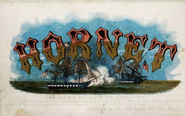 Another Hornet clipper card with ornate lettering, circa 1863. Via Wikimedia.