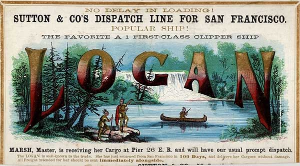 A clipper card for the Logan, circa 1855. Via Wikimedia.