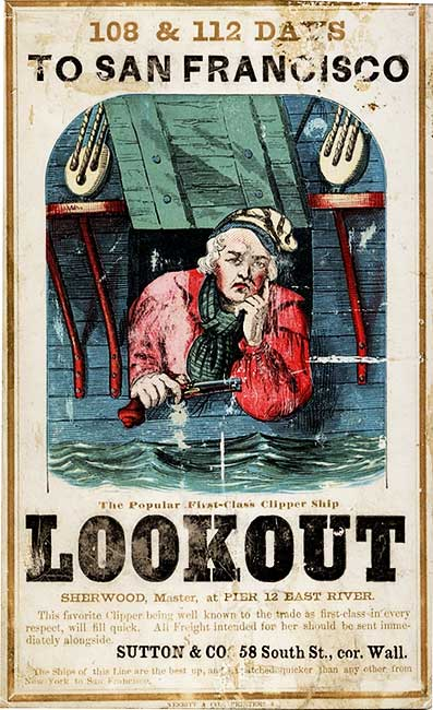 A Lookout clipper card, circa 1855. Via Wikimedia.