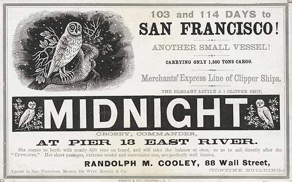 The absence of color works well on this Midnight clipper card, circa 1855. Via Wikimedia.