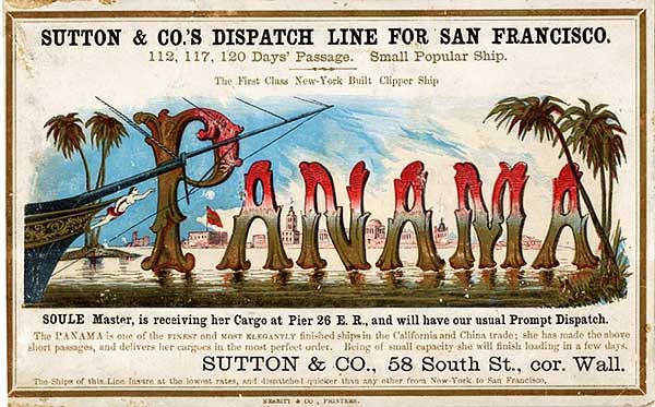 Exotic scenery dominates this clipper card for the Panama, circa 1855. Via Wikimedia.