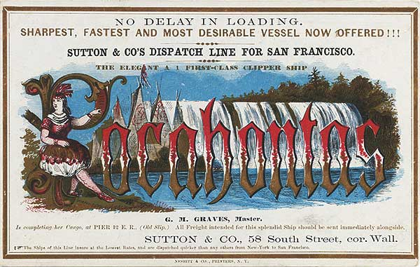 A clipper card advertising the Pocohontas, circa 1864. Courtesy Harvard's Baker Library.
