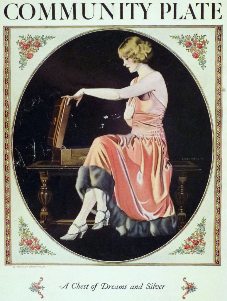 This 1920s Coles Phillips ad for Community Plate doesn't even show the silverware—just the woman's reaction to it.