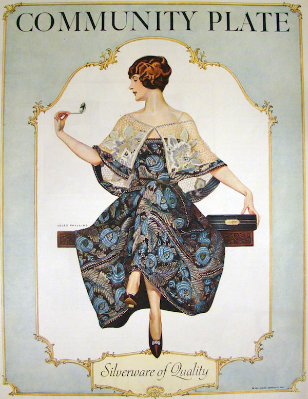 "This Community Plate ad by illustrator Coles Phillips appeared in the September 1924 edition of ""Ladies Home Journal."" His ""pretty girl art"" style depicts women with modern flapper fashion and bourgeois aspirations of marriage. Click on the image to see it larger."