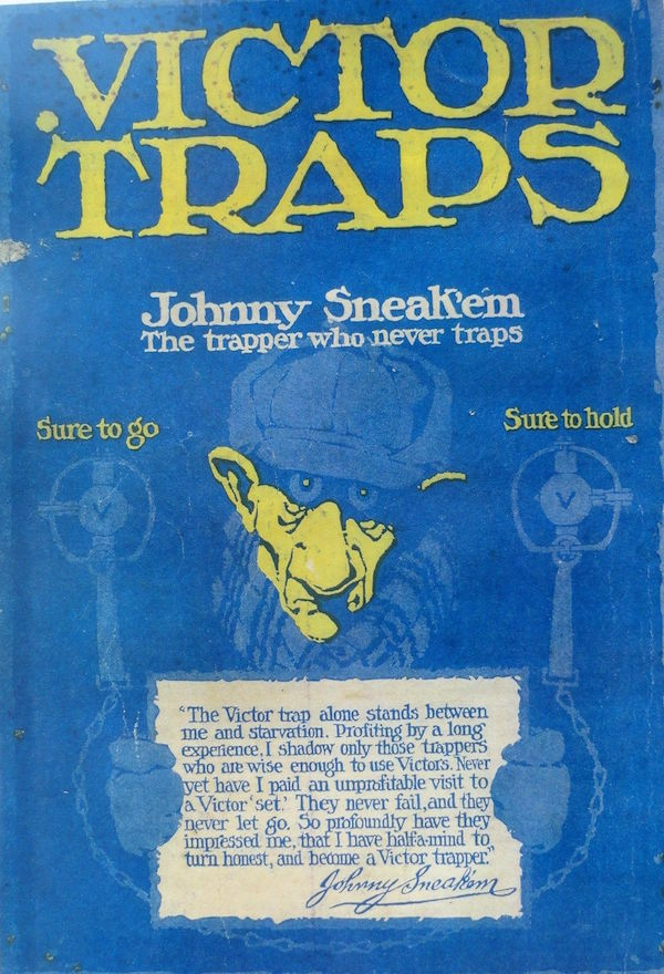 "In this Oneida Community, Limited, advertising poster, the character ""Johnny Sneak'em"" asserts, ""The Victor trap alone stands between me and starvation."" Click on the image to see it larger."