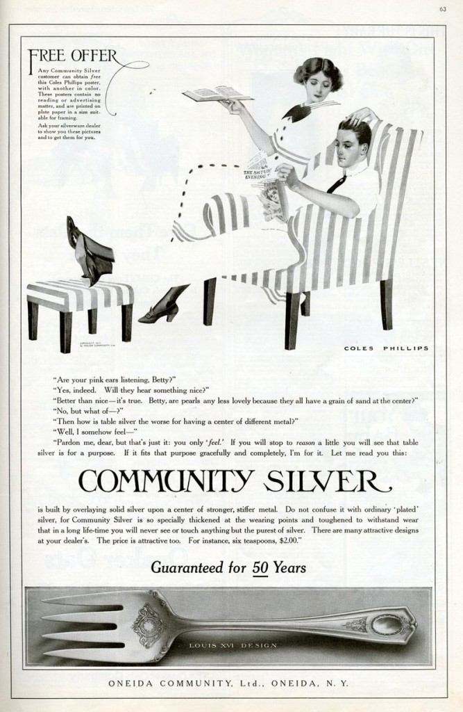 "This 1911 Oneida Community, Limited, ad from ""Ladies Home Journal"" shows a couple pondering silverware. It's the first Oneida ad drawn by illustrator Coles Phillips. Click on the image to see it larger. (From the Walt Reed Illustration Archive/Washington University)"