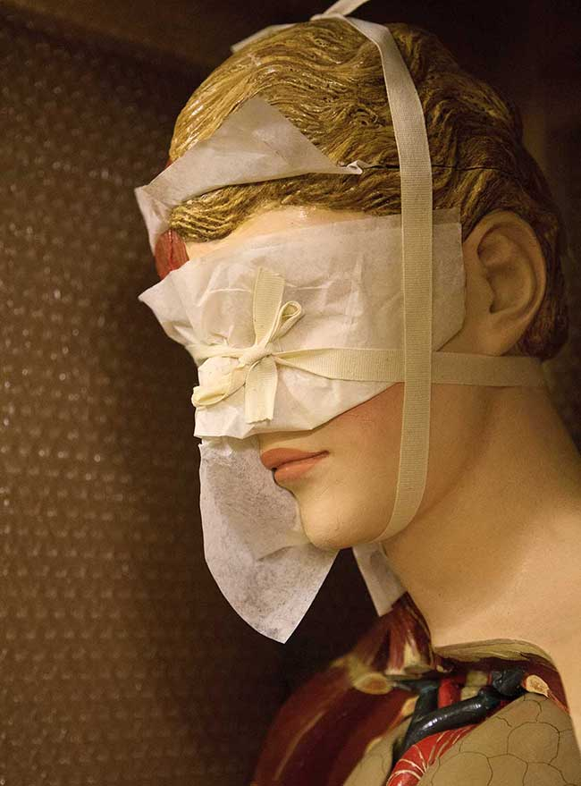 A life-sized plaster anatomical model, made around 1900, blindfolded for storage at the Blythe House, London. Courtesy the Wellcome Collection, London. Photo © Joanna Ebenstein.
