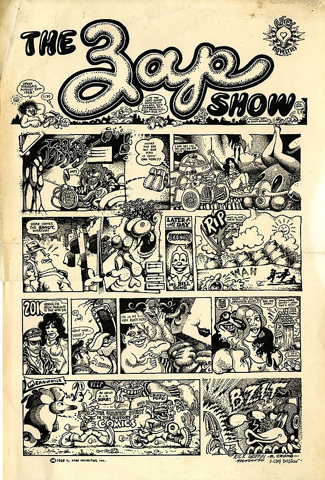 "The original art for ""Zap Comix"" No. 2 were shown in the lobby-gallery of the Light Sound Dimension studio on California Avenue in 1968."