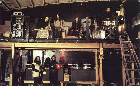 Light Sound Dimension (Bill Ham at lower left) getting ready for a show at the California Street studio, circa 1968.