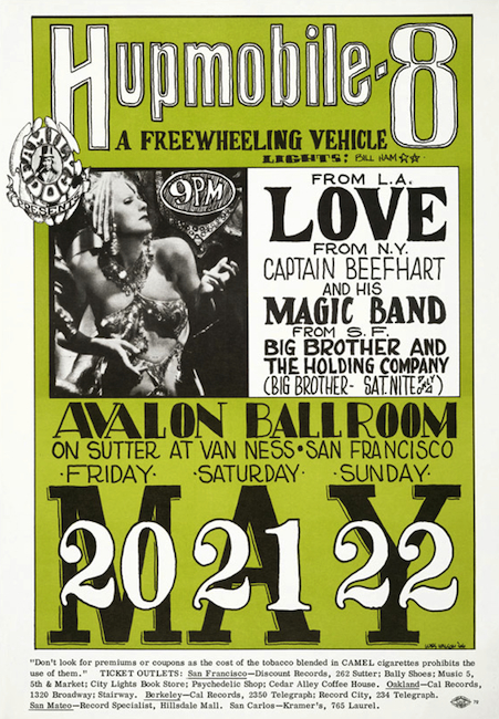 Love and Captain Beefheart (another poster misspelling) were big fans of Ham's light shows when they played the Avalon.