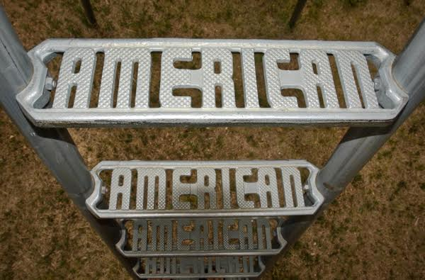 "A metal slide in Victor, Colorado, had step treads with the name ""American"" in them. Photographed in 2008. (Photo by Brenda Biondo)"