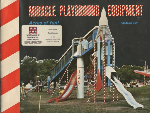 A 1968 Miracle Playground Equipment catalog features the huge rocket-ship play set seen at the top of this story. (Courtesy of Brenda Biondo)