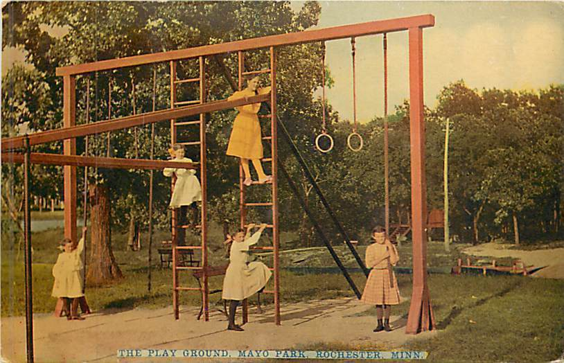 A 1911 postcard shows girls playing on an outdoor gymnasium at Mayo Park in Rochester, Minnesota.