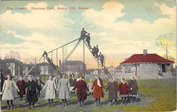 This old postcard of Shawnee Park in Kansas City, Kansas, circa 1912, shows how tall slides could get.