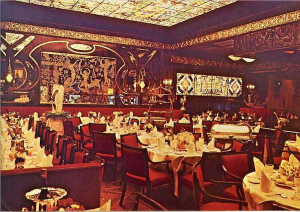 The interior of the Art Nouveau-inspired bar and restaurant Maxwell Plum's in New York City. (Via Restaurant-ing Through History)